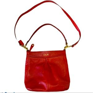 Coach Ashley Hippie Bag Cherry Red Leather